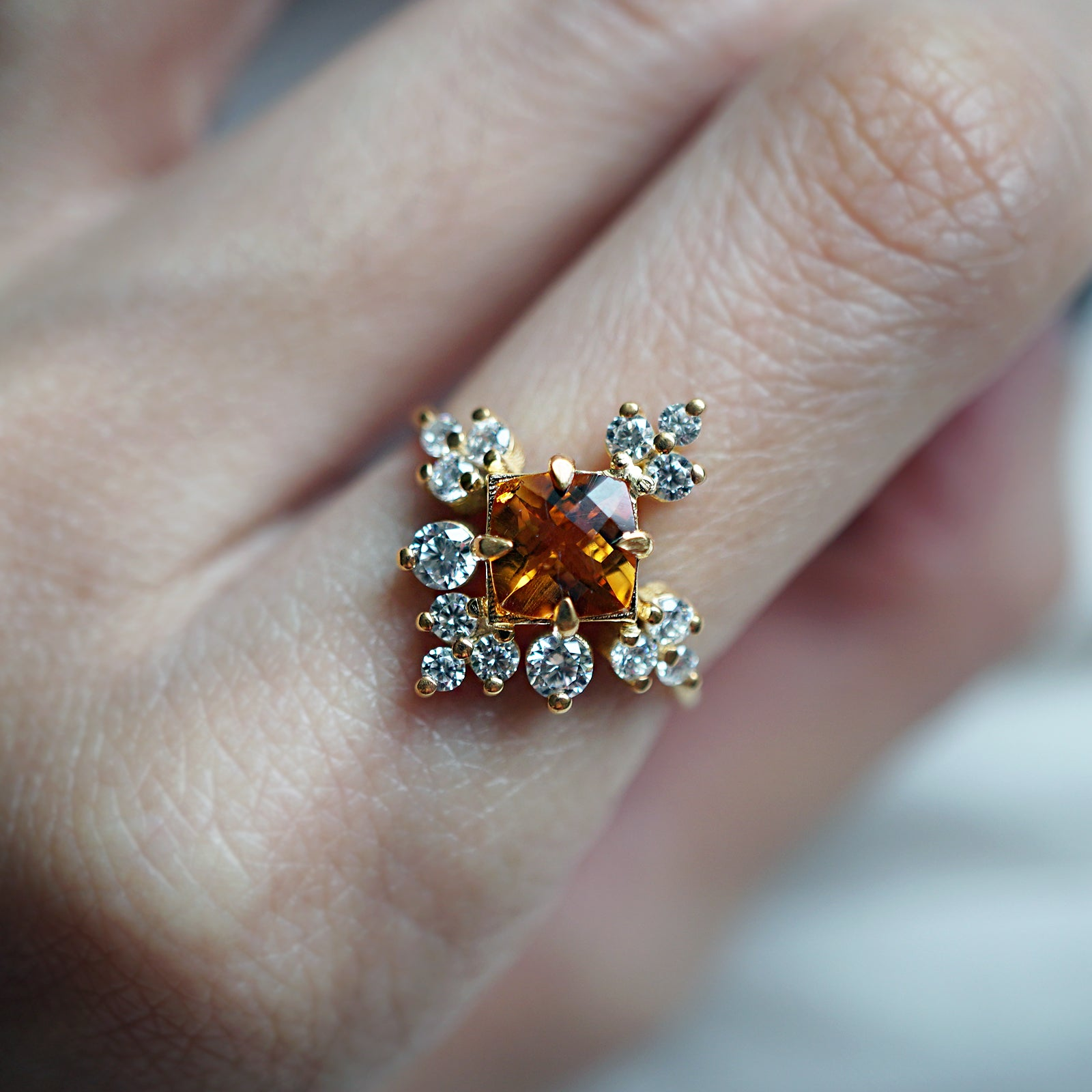 Snowflake Citrine Ring