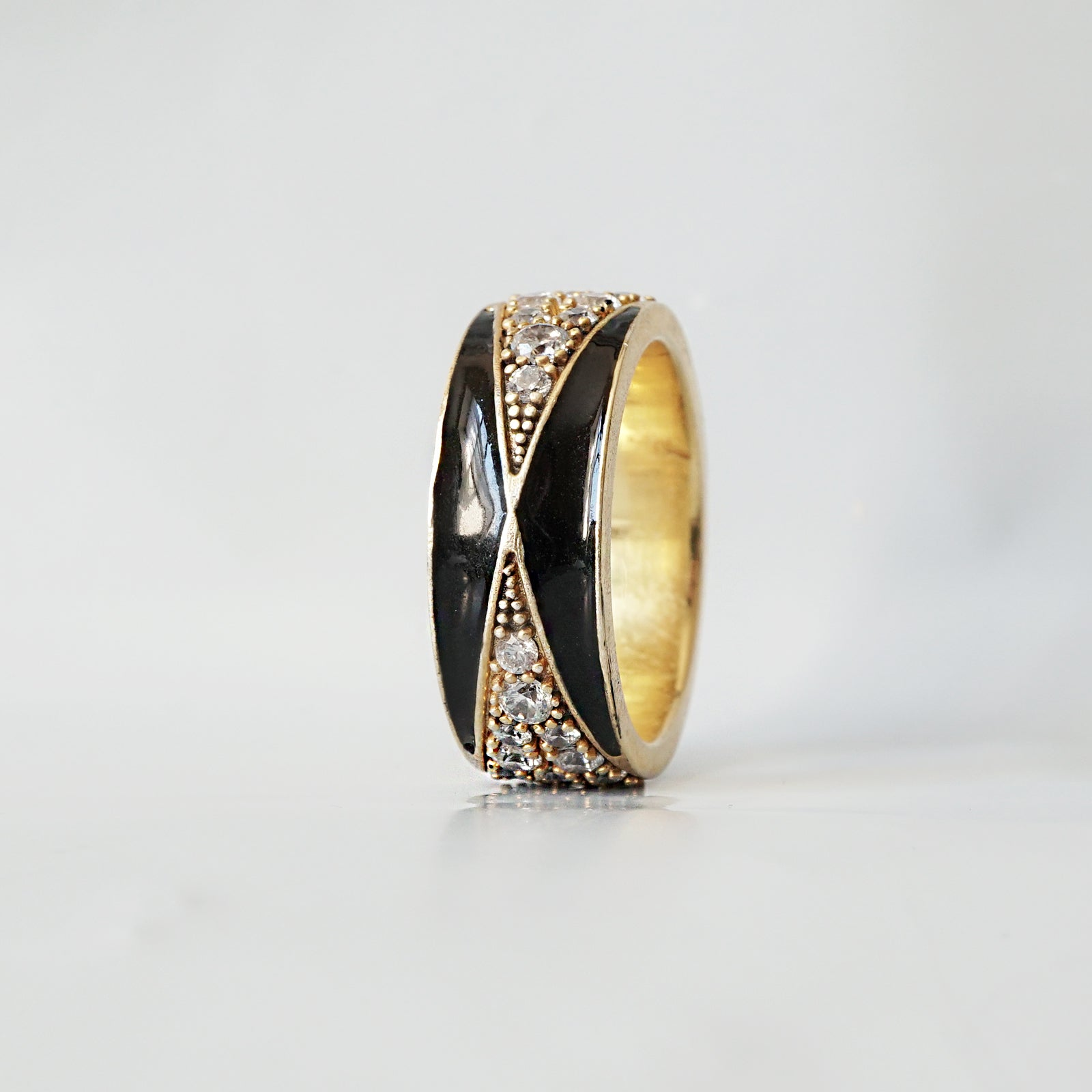 14K Enamel Diamond Ring - Tippy Taste Jewelry
