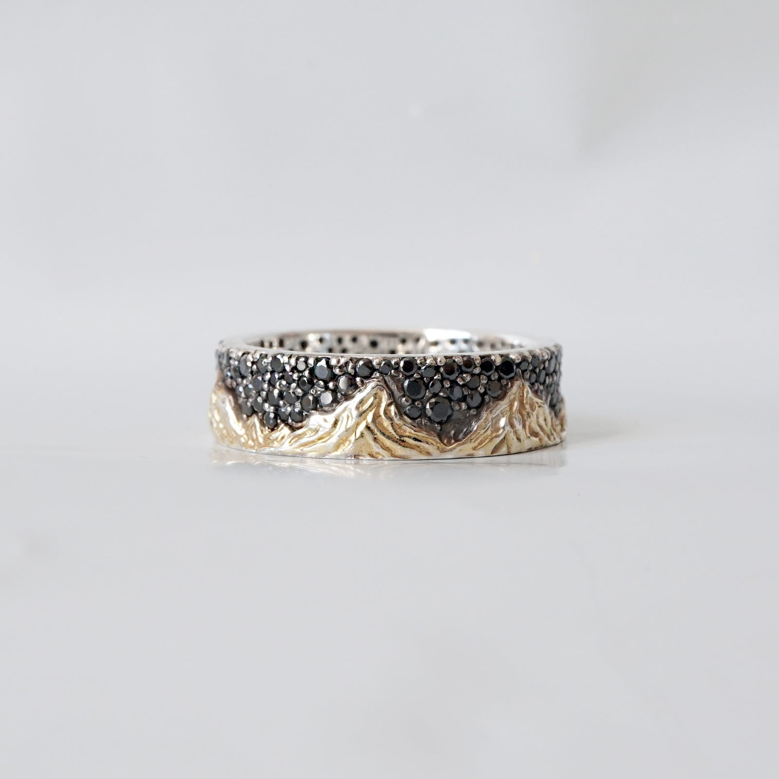 Mixed Metal Montona Black Diamond Ring, 7.2mm - Tippy Taste Jewelry