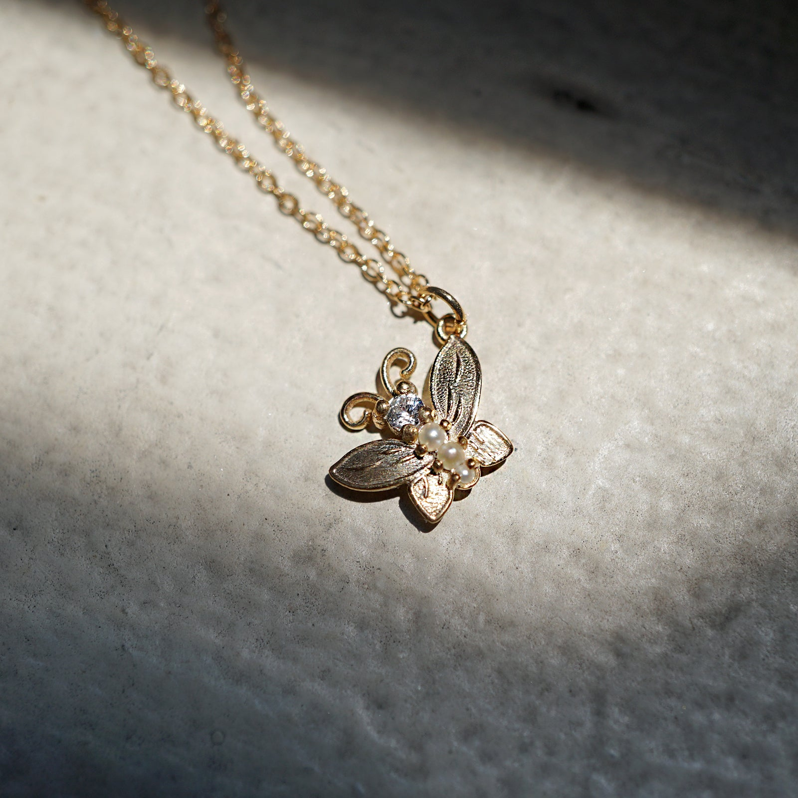 Diamond Butterfly Pearl Charm