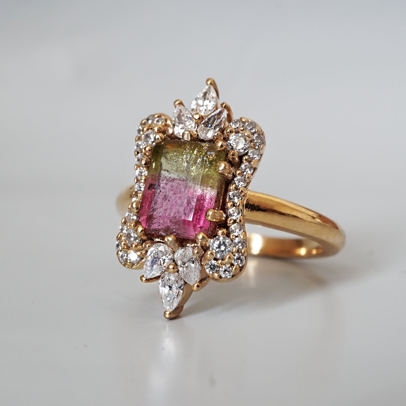 Eleanor Watermelon Tourmaline Diamond Ring