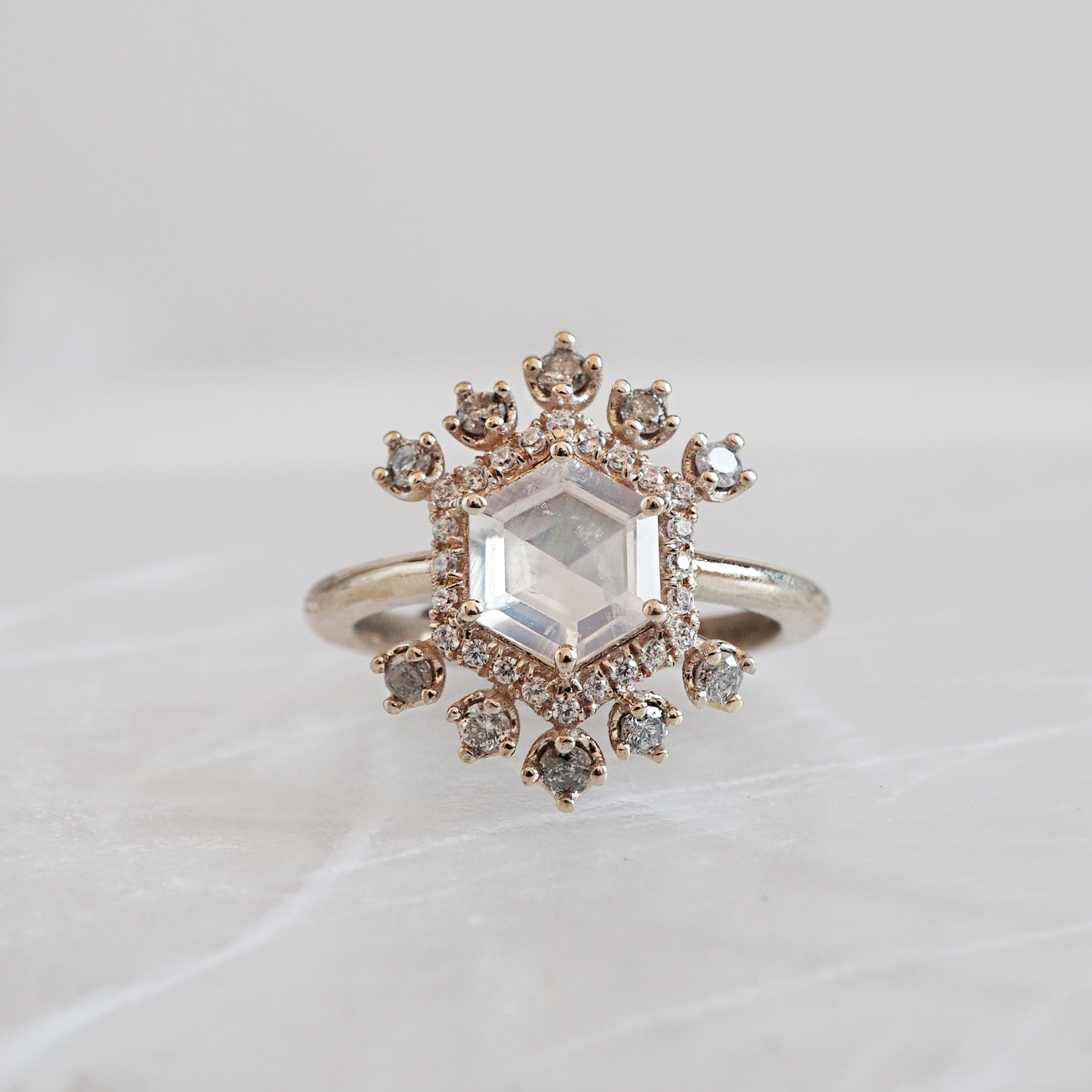 Cinderella Moonstone Diamond Ring - Tippy Taste Jewelry