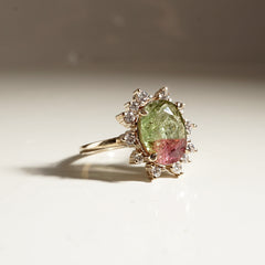 14K Watermelon Diamond Ring - Tippy Taste Jewelry