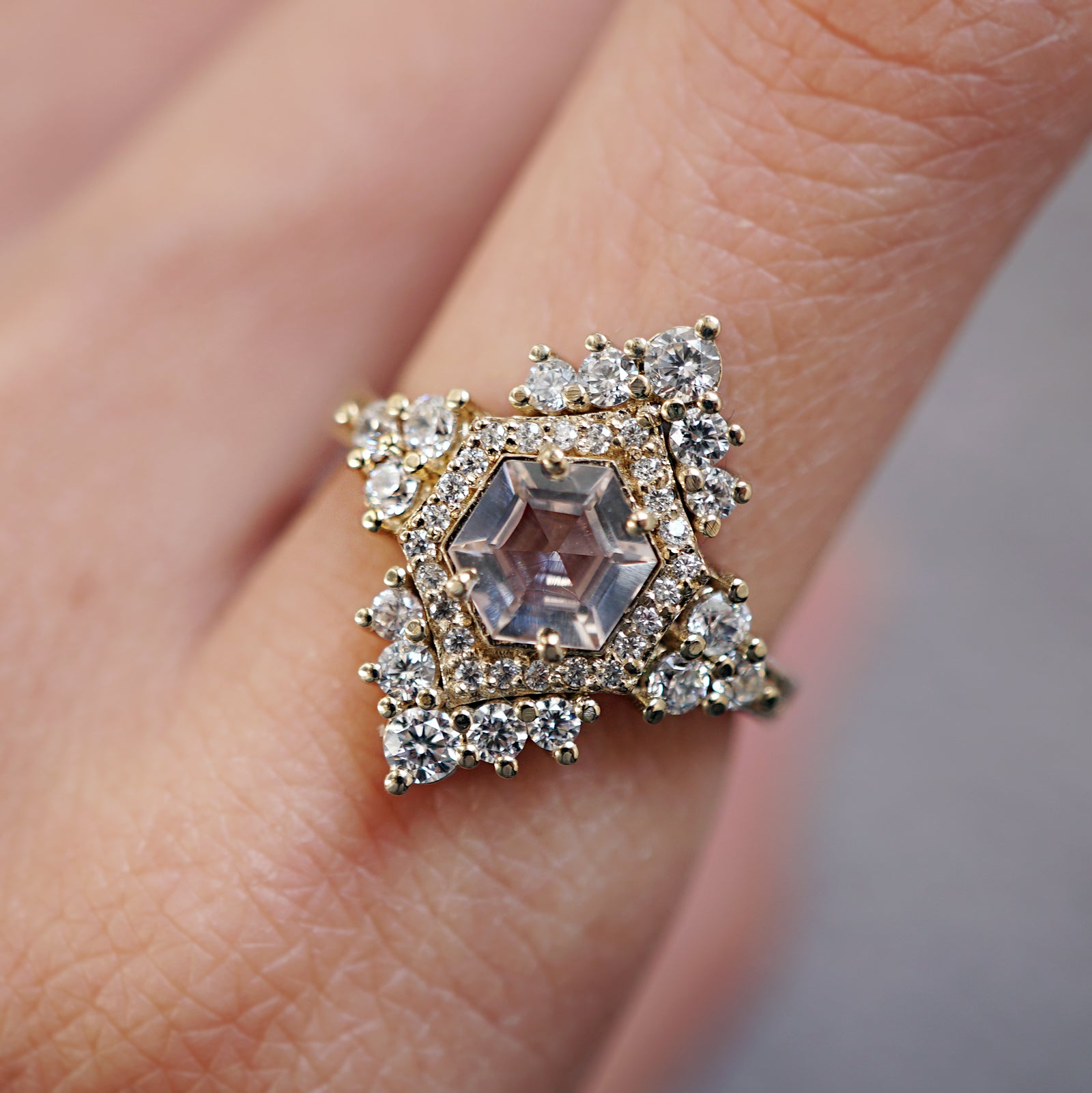 Chandelier Morganite Diamond Ring
