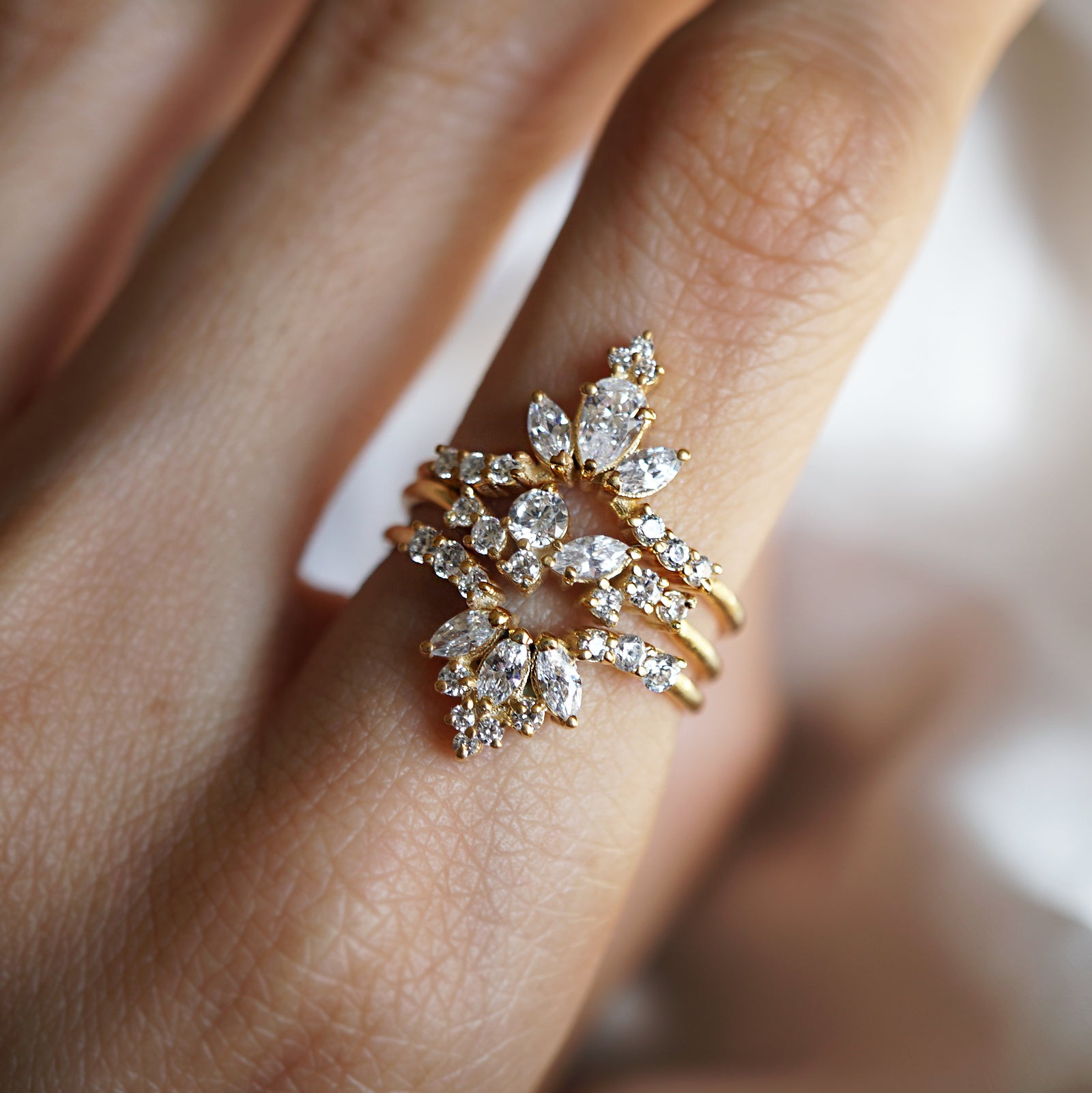 14K Venice Pear Marquise Ring