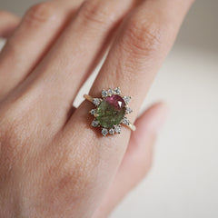 14K Watermelon Diamond Ring