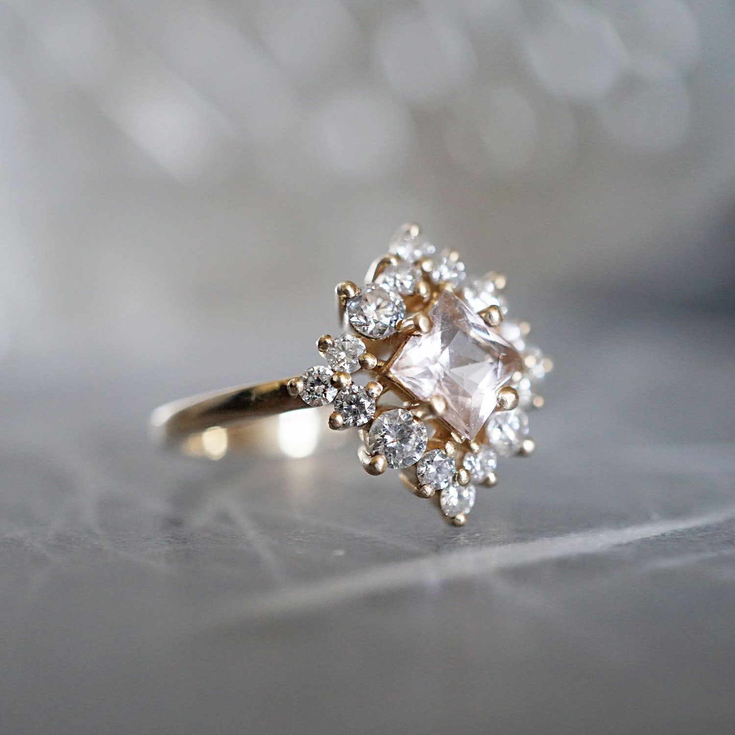 halo engagement morganite ring diamond pear