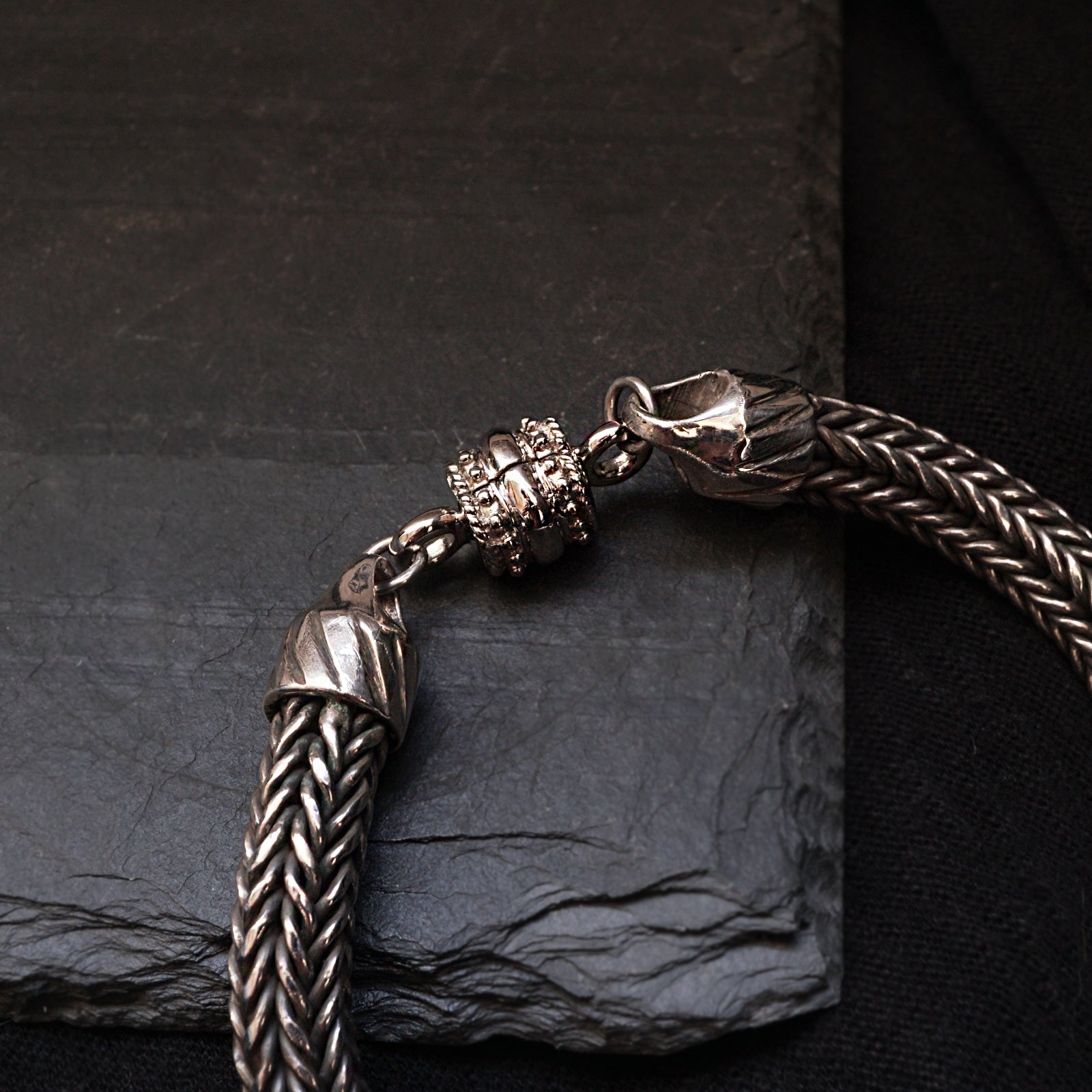 Woven Chain Bracelet in Silver, 8mm