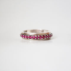 Silver/22K Gold Inlay Ruby Ring, 5mm - Tippy Taste Jewelry