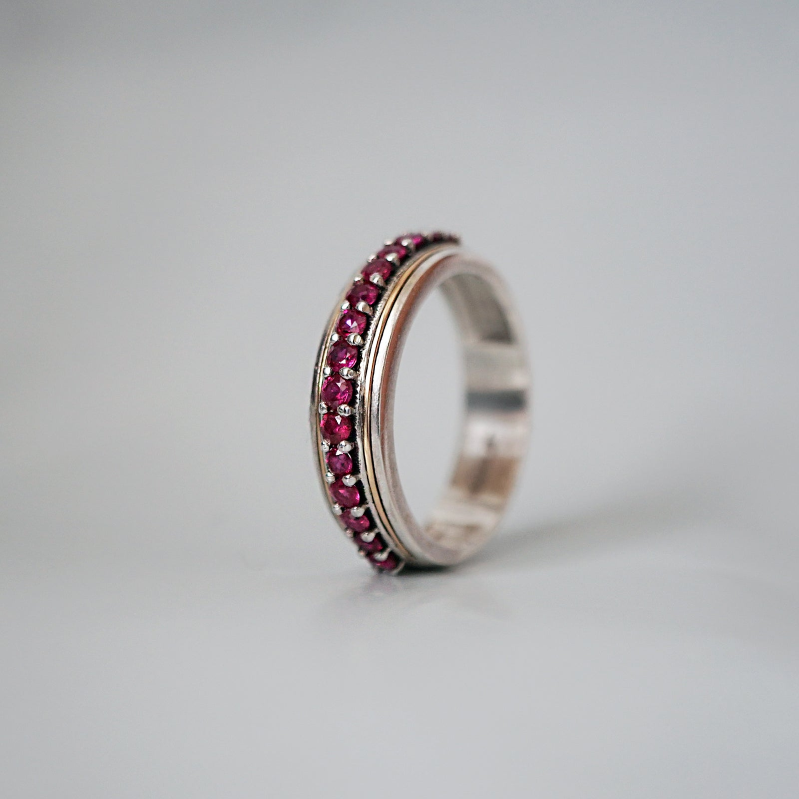 Silver/22K Gold Inlay Ruby Ring, 5mm