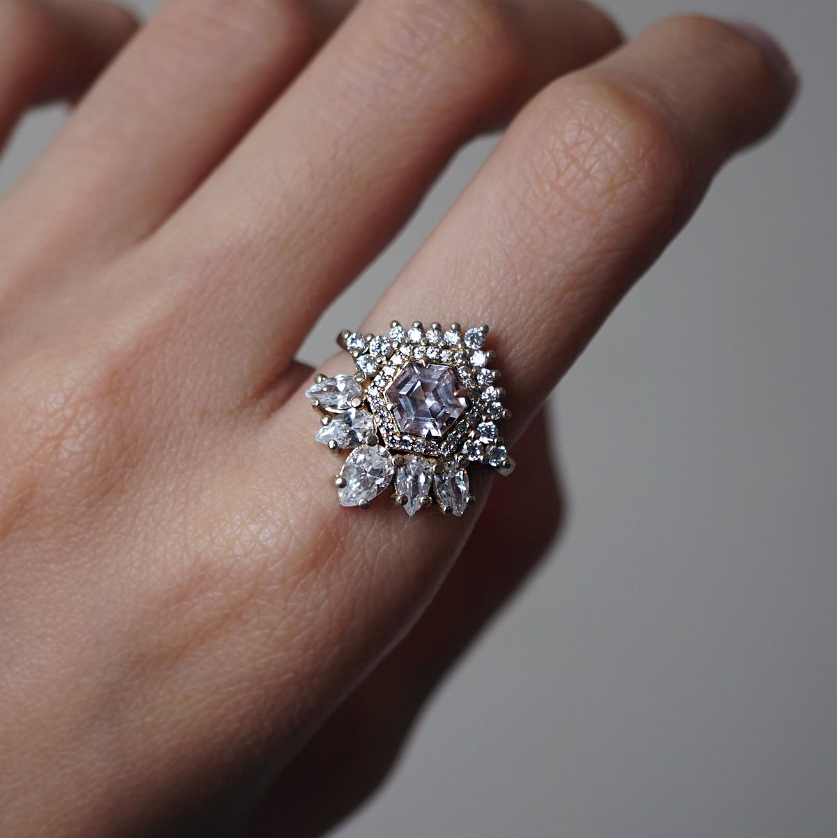 Hexagon Morganite Diamond Gatsby Ring