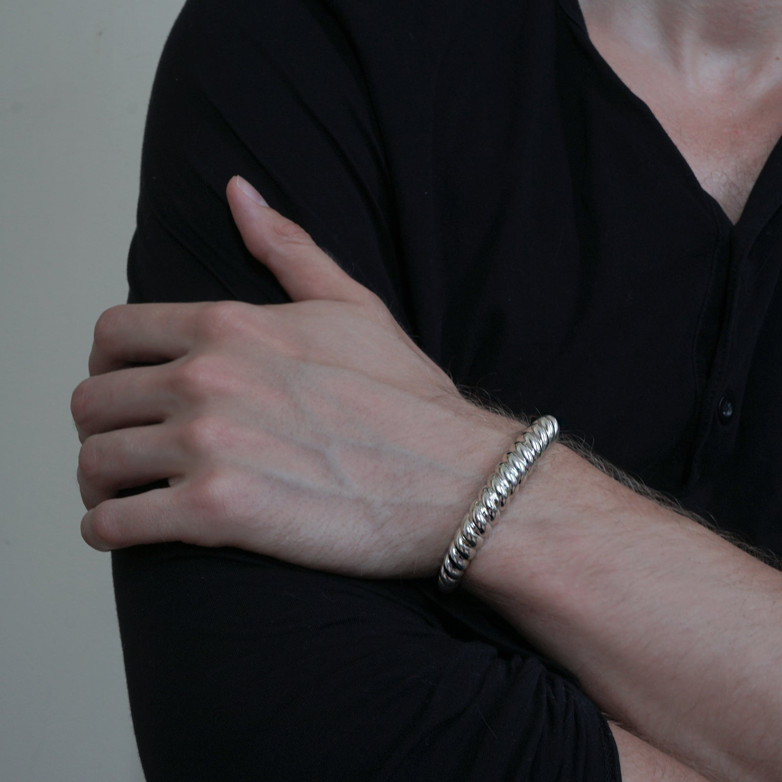 Heavy Twisted Tapered Silver Cuff, 10.5mm