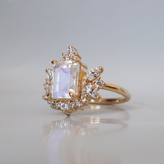 Stardust Moonstone Diamond Ring