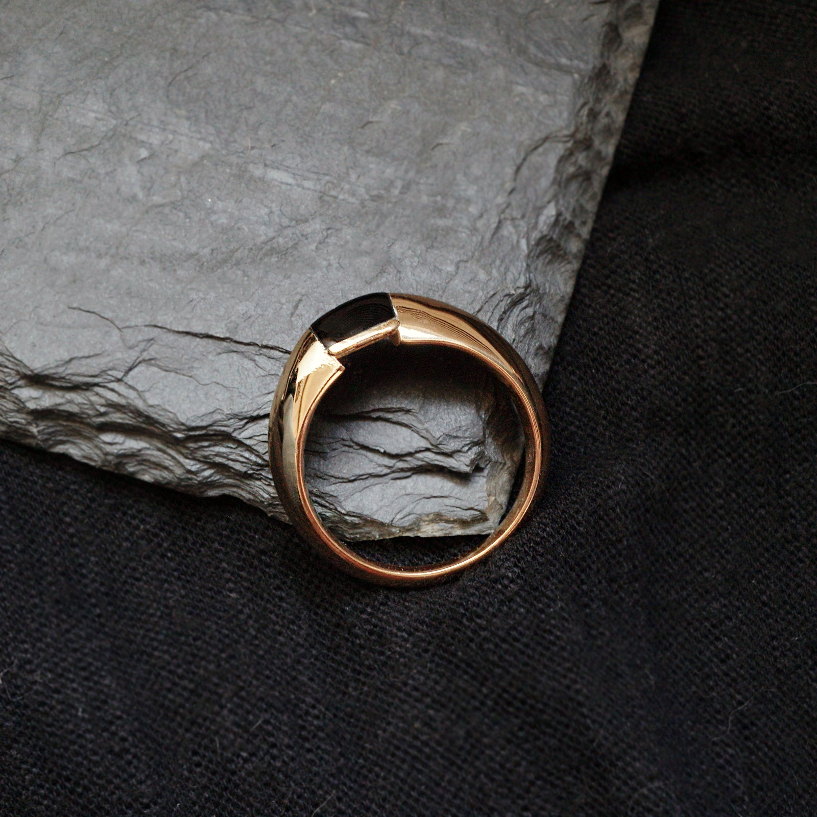 Black Onyx Bevel Ring, 7mm