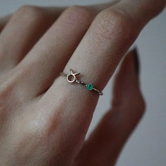14K Taurus Horoscope Birthstone Ring (Emerald + Diamond)