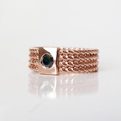 Braid Black Diamond Ring, 7mm
