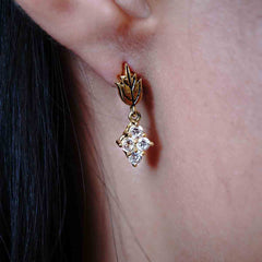 14K Rose Leaf Diamond Drops - Tippy Taste Jewelry