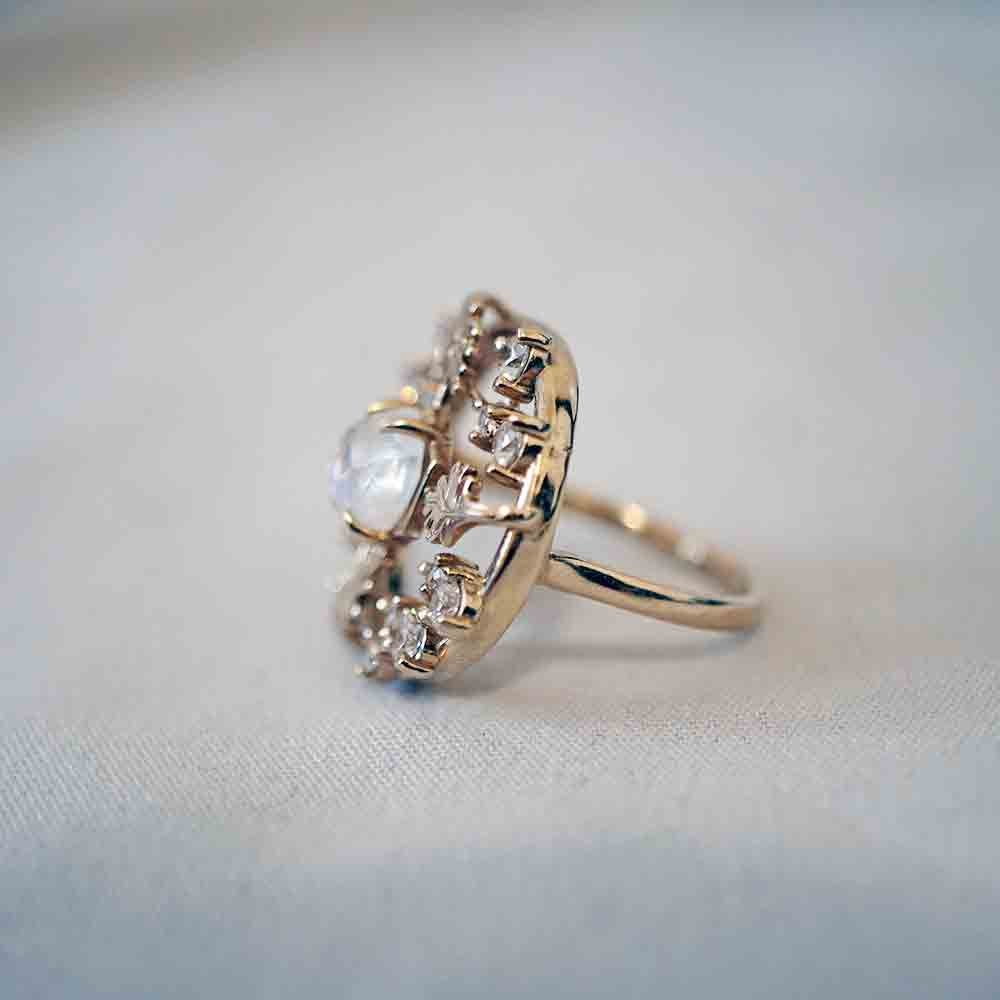 14K Wishing Well Moonstone Diamond Ring - Tippy Taste Jewelry