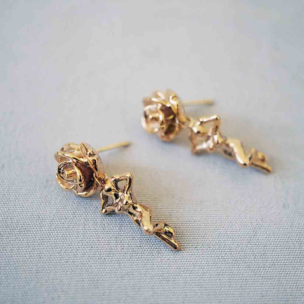 14K Rose Child Drops - Tippy Taste Jewelry