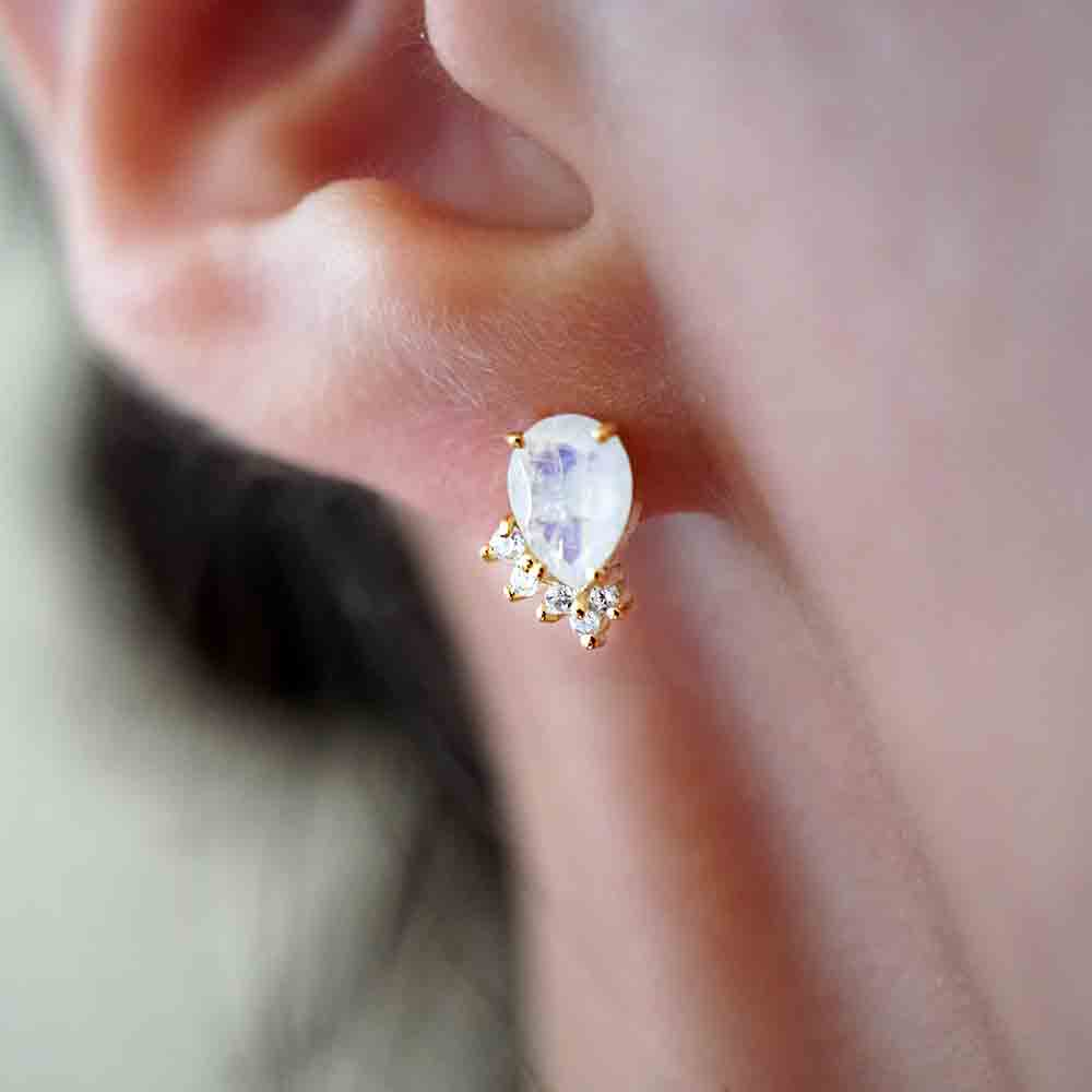 Moonstone Sweetheart Studs - Tippy Taste Jewelry