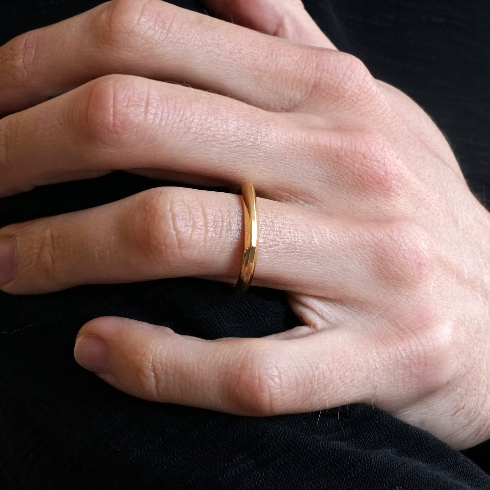 14K Faceted Ring Band