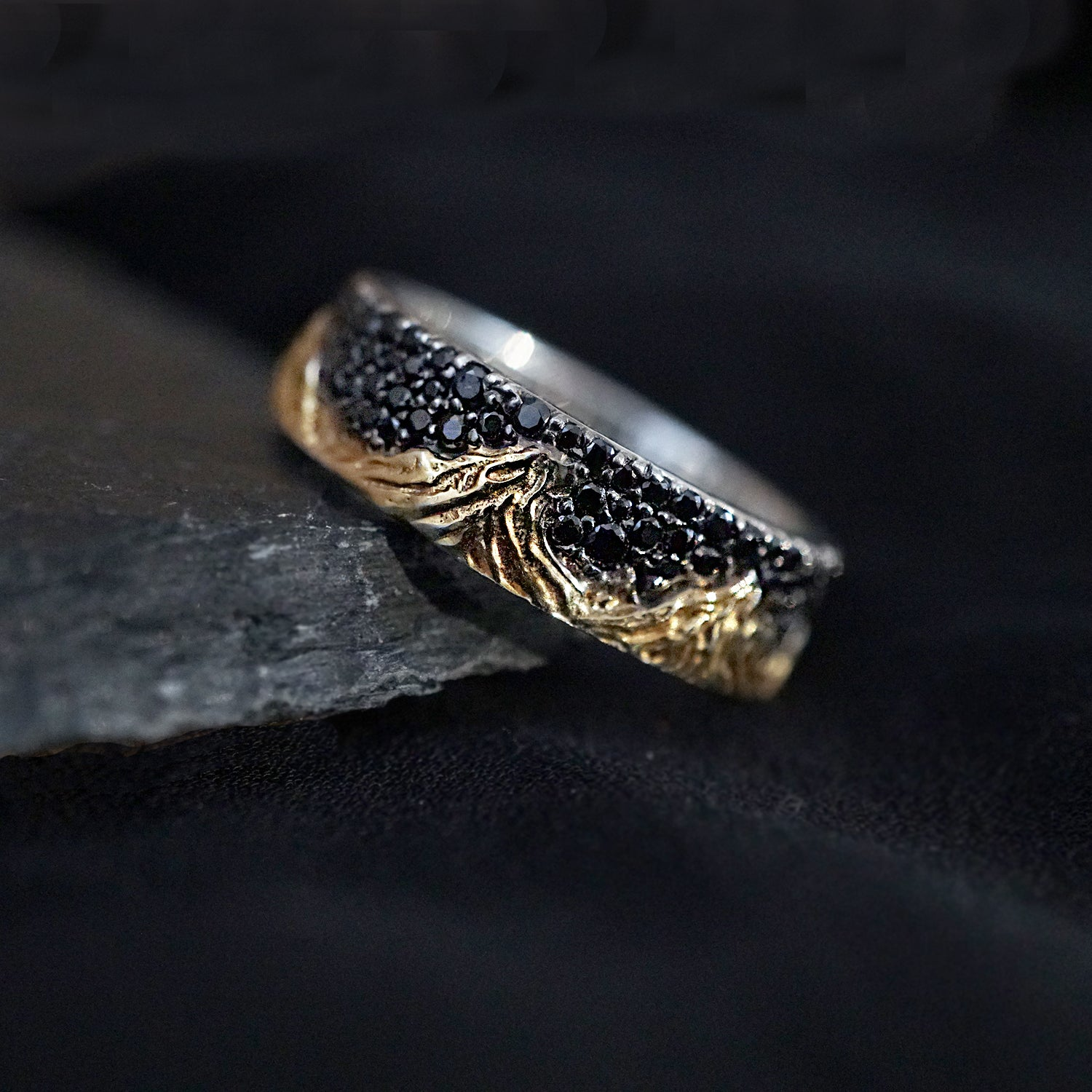 Mixed Metal Montona Black Diamond Ring - Tippy Taste Jewelry