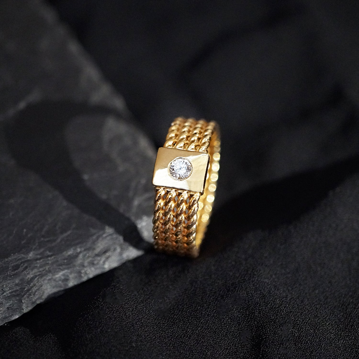 14K Rope Diamond Ring, 7mm - Tippy Taste Jewelry