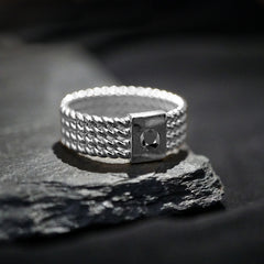 Silver Braid Black Diamond Ring Band - Tippy Taste Jewelry
