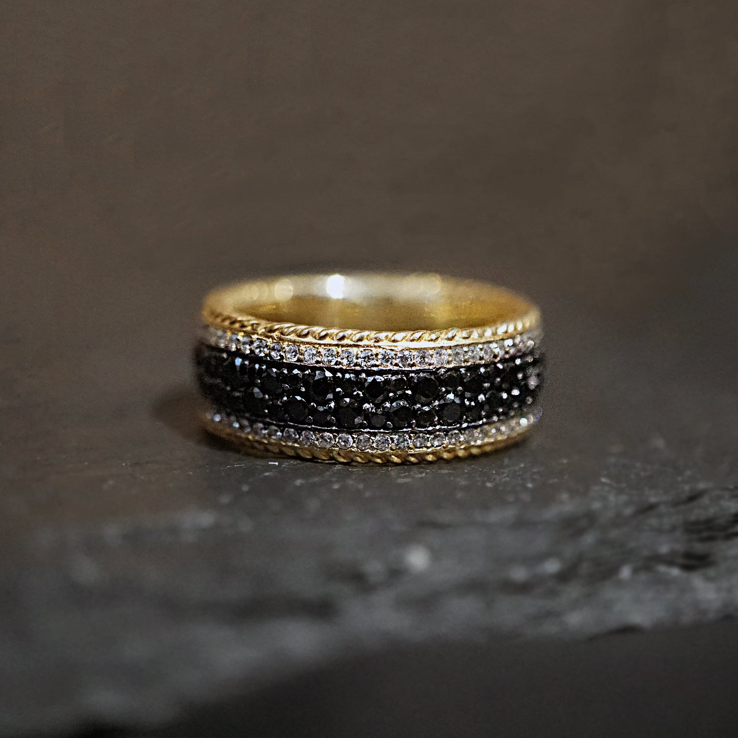 14K Pavé Black & White Diamond Ring - Tippy Taste Jewelry