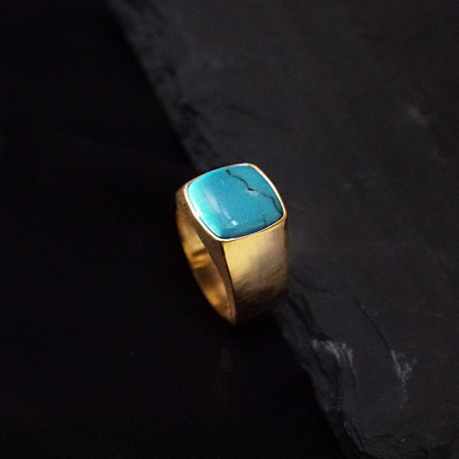14K Exotic Signet Ring (3 stone choice) - Tippy Taste Jewelry