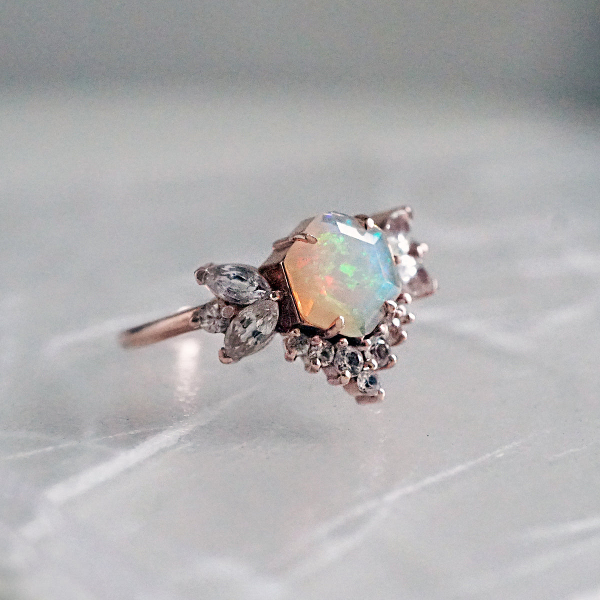 Hexagon Opal Butterfly Diamond Ring - Tippy Taste Jewelry