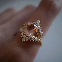 Morganite Tiara Diamond Ring