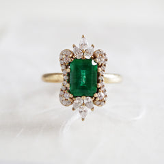 Eleanor Emerald Diamond Ring - Tippy Taste Jewelry