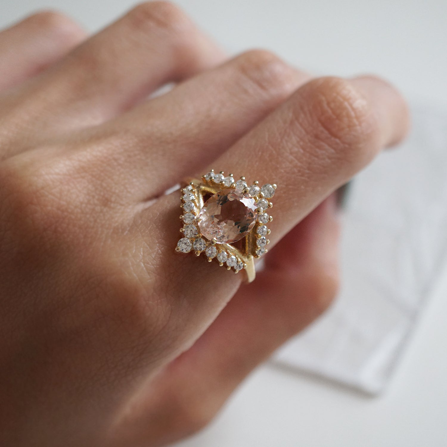 Morganite Tiara Diamond Ring - Tippy Taste Jewelry
