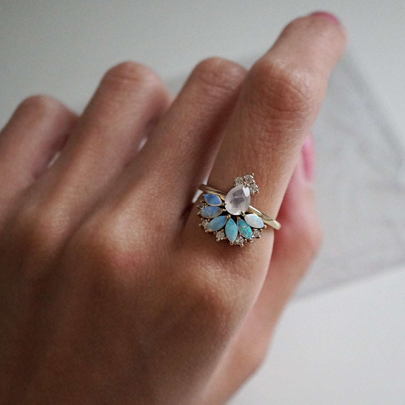Fairydust Opal Moonstone Diamond Ring