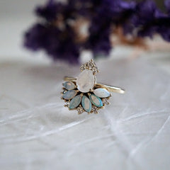 Fairydust Opal Moonstone Diamond Ring - Tippy Taste Jewelry