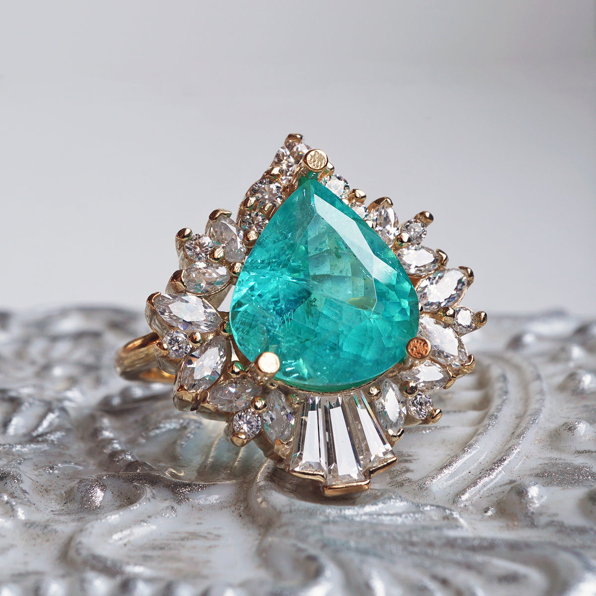 Limited Edition: Hall Of Mirrors Tourmaline Paraiba Diamond Ring
