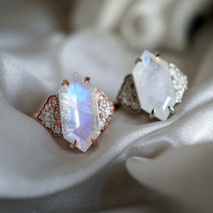 Frozen Moonstone Diamond Ring