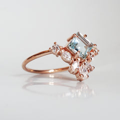 Aquamarine Lily Ring