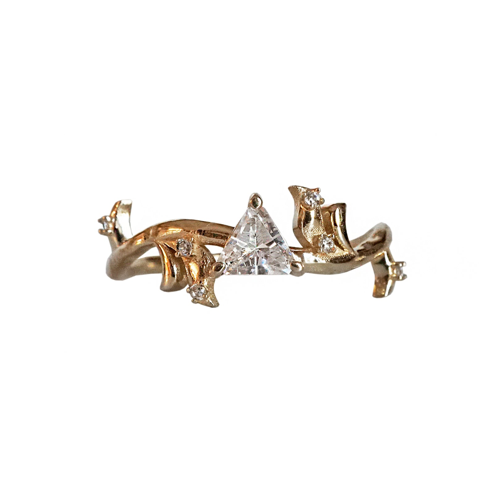 14K Rose Thorn Trillion Diamond Ring
