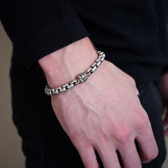 Double Box Chain Bracelet In Silver