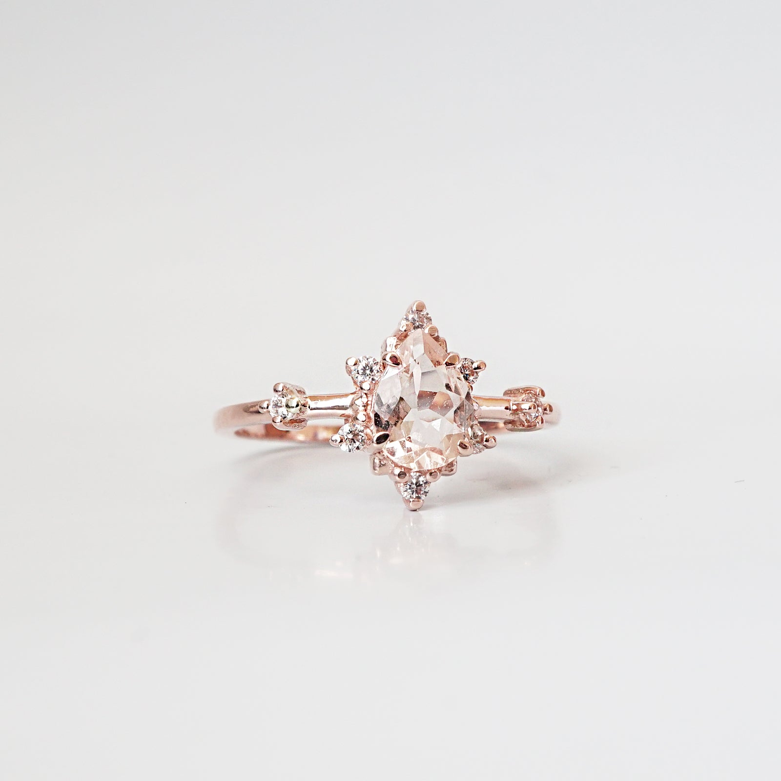 14K Morganite Diamond Crush Ring - Tippy Taste Jewelry