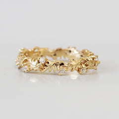 14K Wreath Diamond Ring Band - Tippy Taste Jewelry