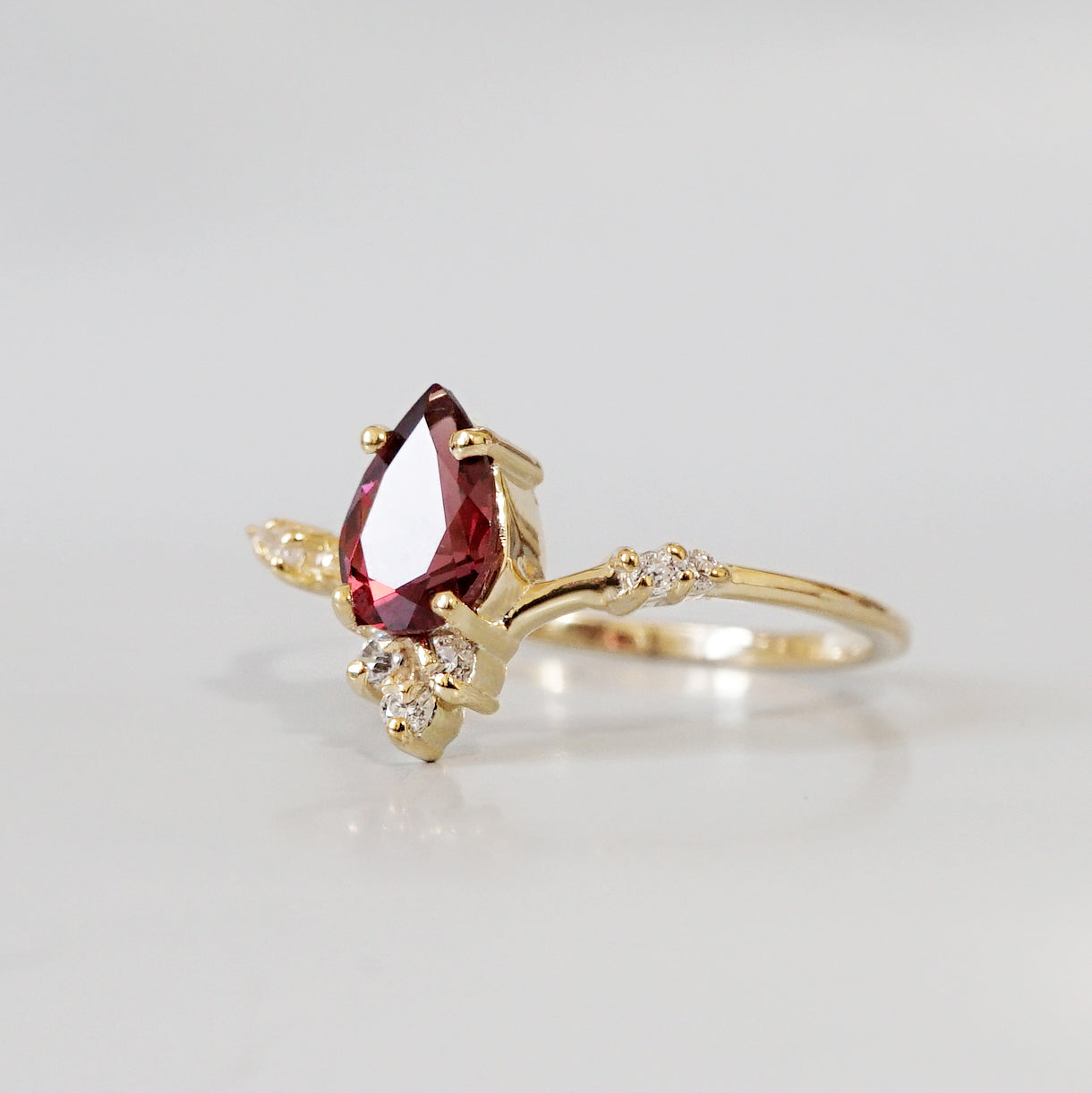 Garnet Blossom Ring - Tippy Taste Jewelry