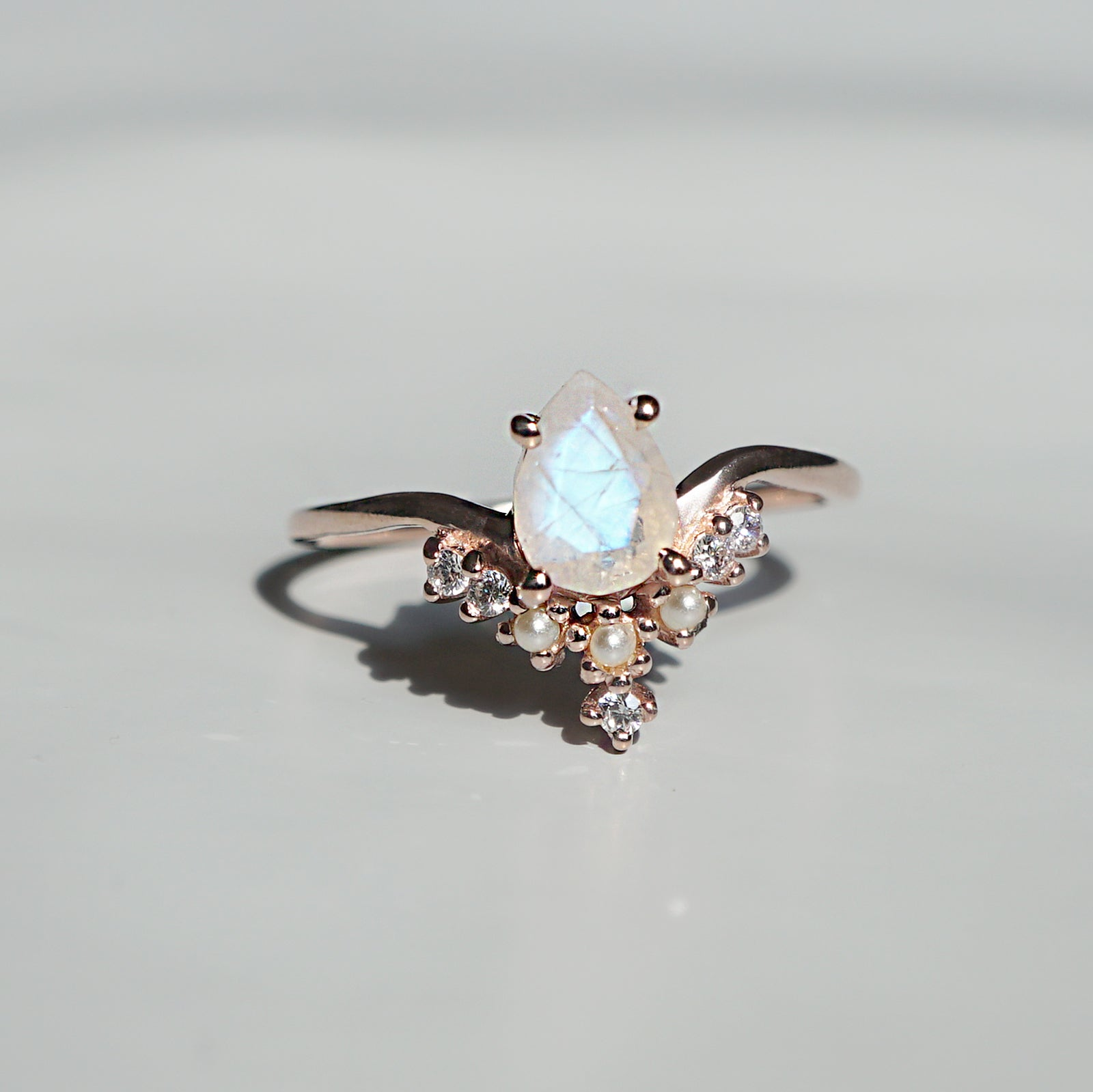 Celestial Moonstone Pearl Ring - Tippy Taste Jewelry