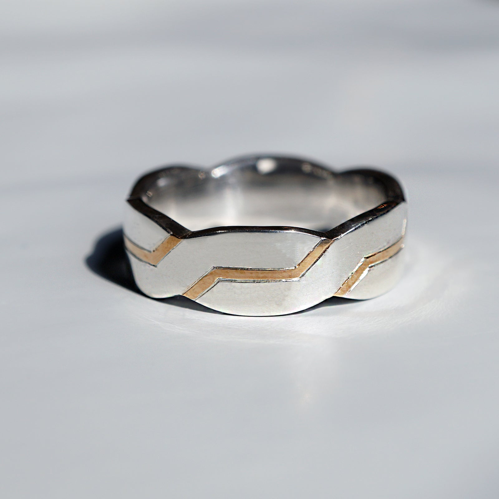 Silver/14K Zig Zag Ring, 7mm - Tippy Taste Jewelry