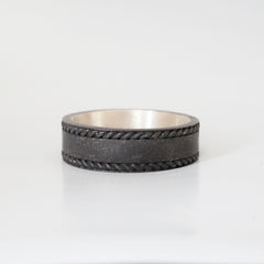 Metallic Grey Silver Twisted Ring