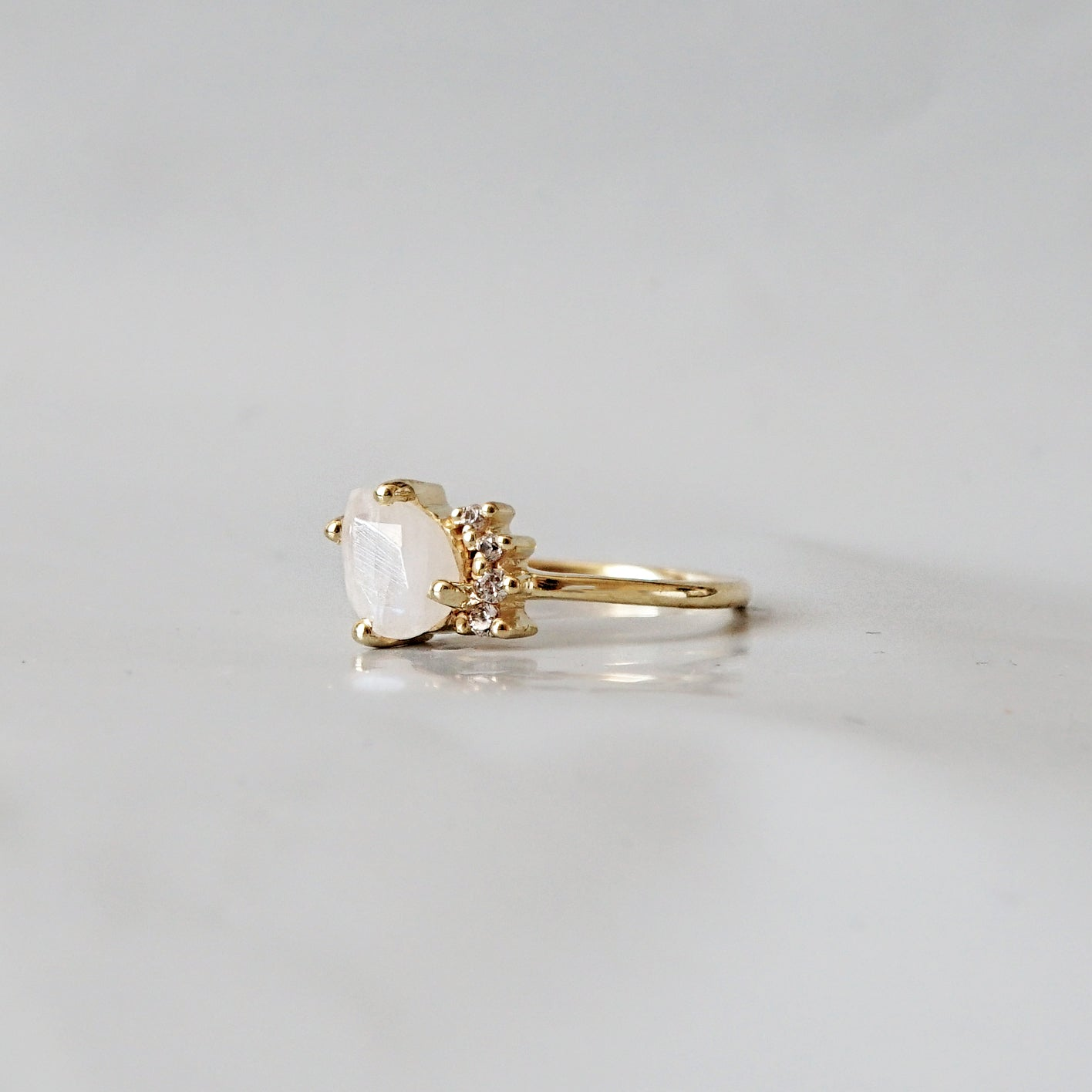 Moonstone Sweetheart Ring - Tippy Taste Jewelry