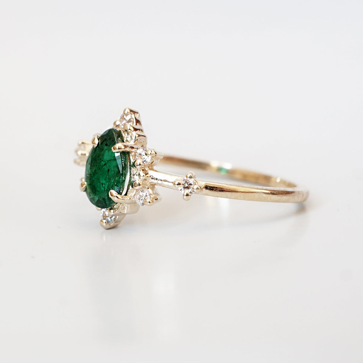 14K Emerald Diamond Crush Ring - Tippy Taste Jewelry