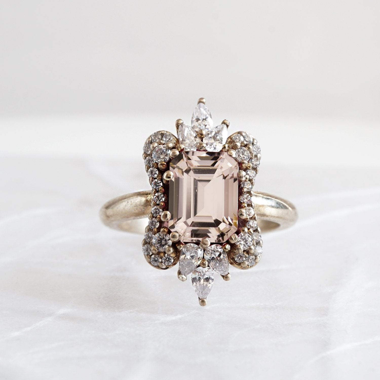 Eleanor Morganite Diamond Ring